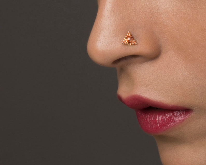 Fashion Jewelry Body Piercing Jewelry 14k Gold Nose Stud Indian Nose Stud Square Nose Stud Indian Nose Ring Gold Screw