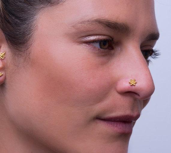 Drop Nose Stud 22g Nose Stud Indian Jewelry Rose Gold Screw Tragu Earring Gold Nose stud Nose stud Teardrop Stud Helix Piercing