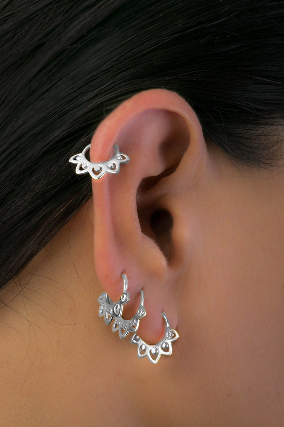 Lotus Piercing Sterling Silver Daith Daith Earring 18g Daith Piercing Cartilage Jewelry Rook Piercing Helix Earring Daith Jewelry