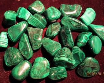 Malachite Tumbled & Polished Green Stone