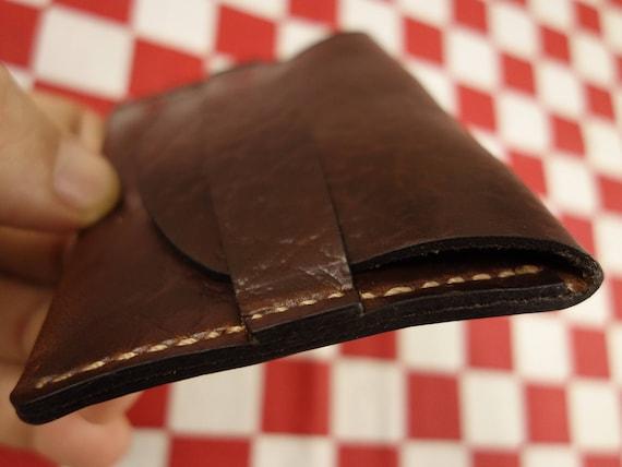 Horween Brown Roughneck Chromexcel Leather One Pocket Flap Card Holder Wallet