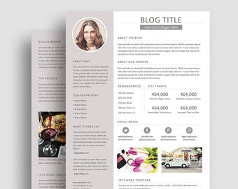 Blog Media Kit Template 04 - Press Kit - Pitch Kit - Word Blog Media Kit - Photoshop Blog Media Kit