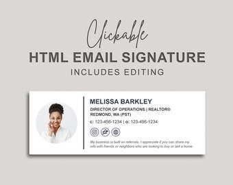 Email Signature, Clickable HTML Email Signature, Custom Gmail Signature, Custom Email Signature, Apple Mail Email Signature
