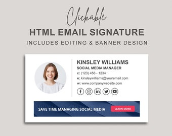 Clickable HTML Email Signature with a Banner Design, Custom Gmail Signature, Custom Email Signature, Banner Email Signature Design