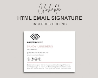 Email Signature, Clickable HTML Email Signature, Custom Gmail Signature, Custom Email Signature, Email Signature with Disclaimer