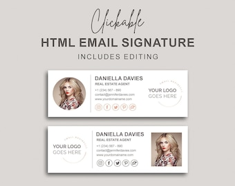 Email Signature, Clickable HTML Email Signature, Custom Gmail Signature, Custom Email Signature, Elegant Image Email Signature