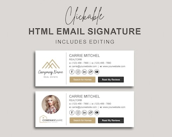 Clickable HTML Signature with Social Media Icons and Buttons, Custom Gmail Signature, Custom Email Signature, Email Signature with Buttons