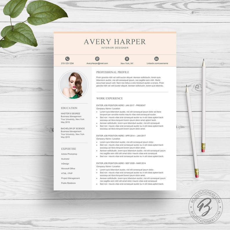 Professional Resume Template For Word Creative Resume Design Etsy