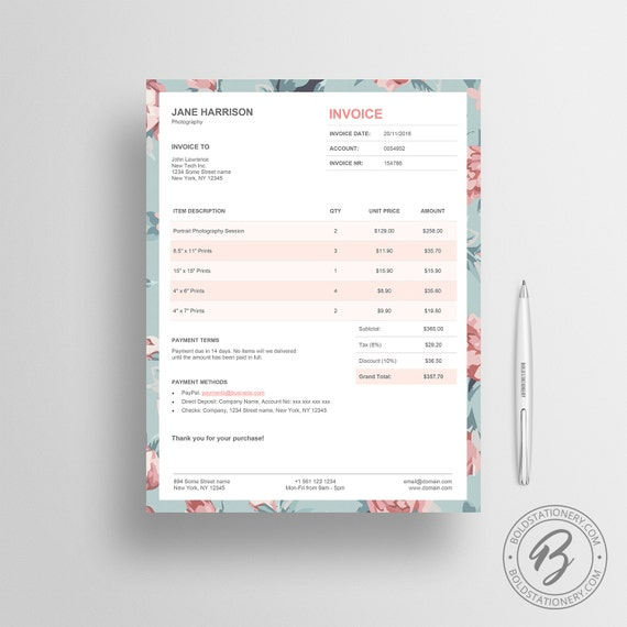 Invoice Template 02 Photography Invoice Receipt Template Etsy