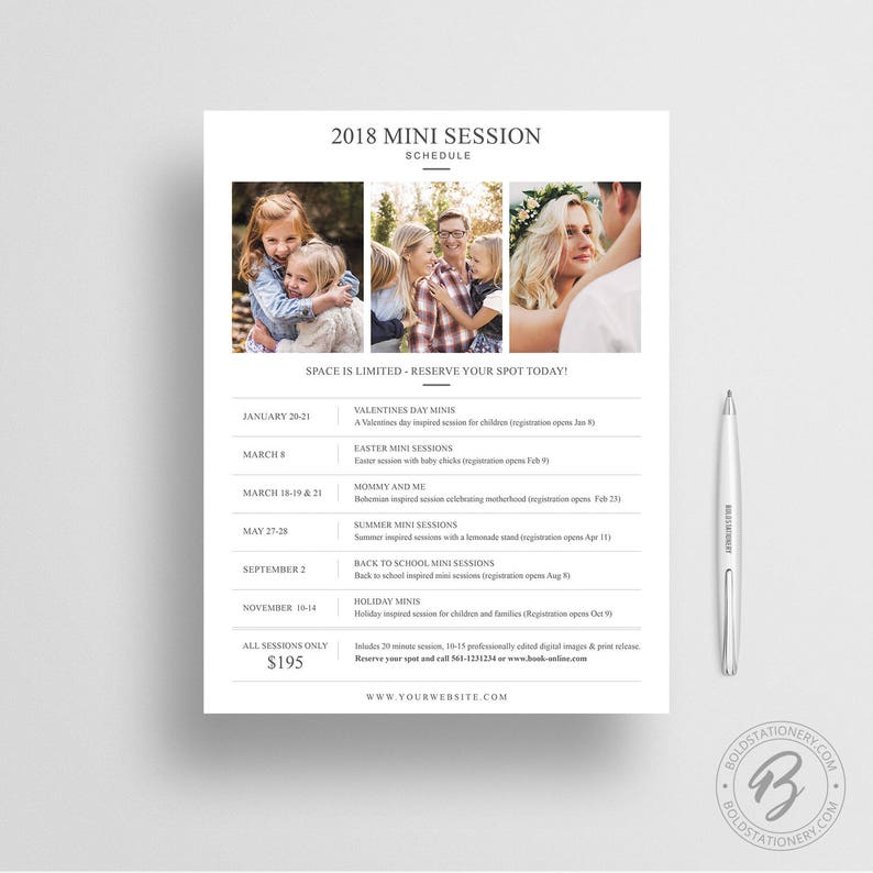 Mini Session Schedule Template  Photography Marketing Board  image 0
