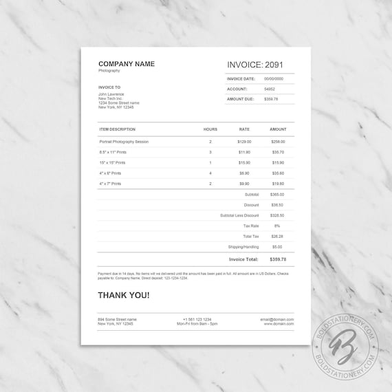 Calculating Invoice Template For Excel Printable Invoice Etsy