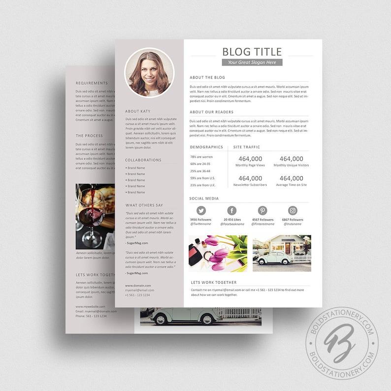 Blog Media Kit Template 04  Press Kit  Pitch Kit  Word Blog image 0