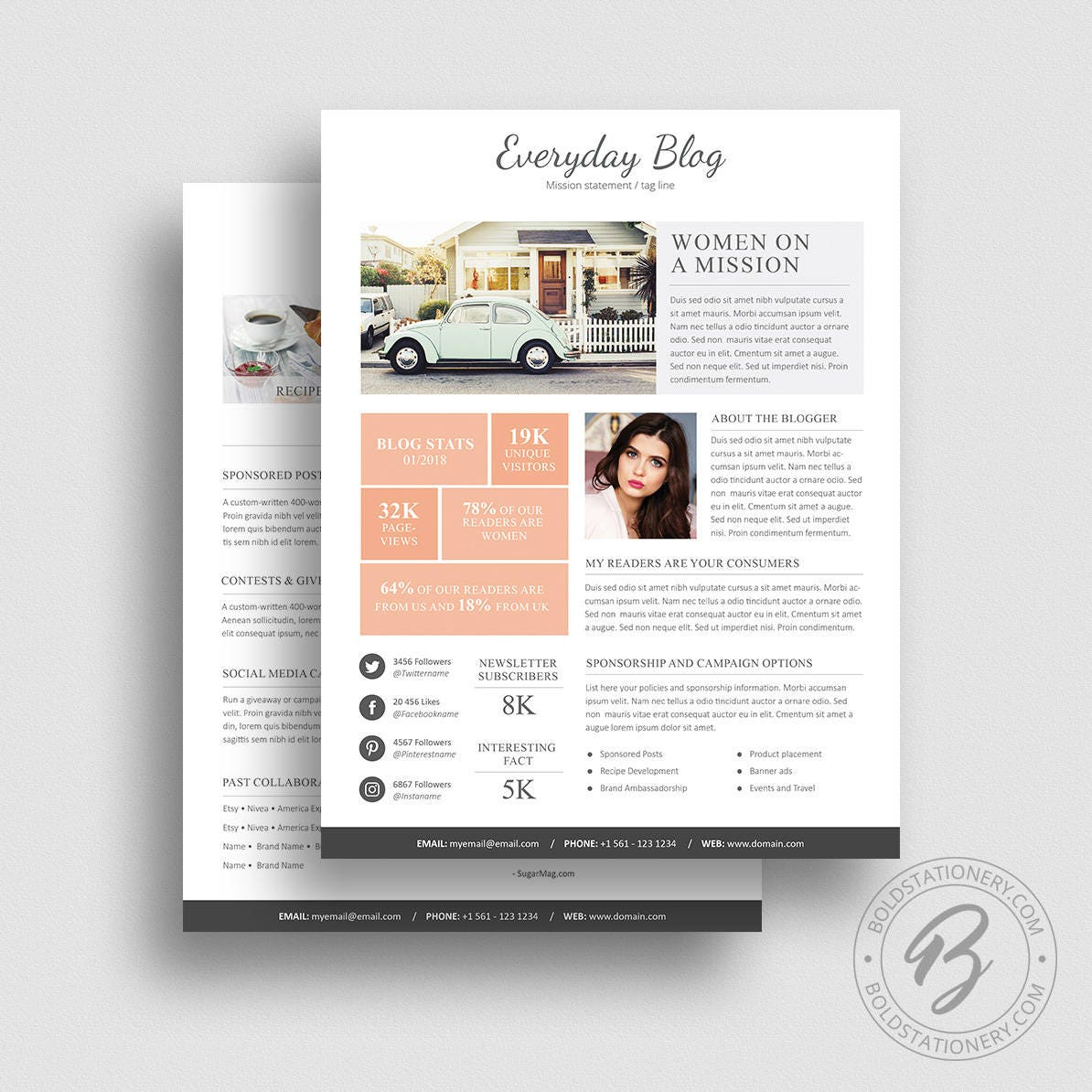 Media Kit Template 08 2 Page Media Kit Template Ad Rate Etsy