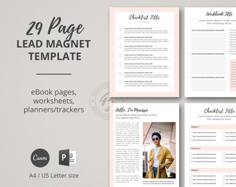 Lead Magnet Template for Canva, Opt-in Template for PowerPoint, Workbook Template, eBook Template, Worksheet Template, Checklist Template