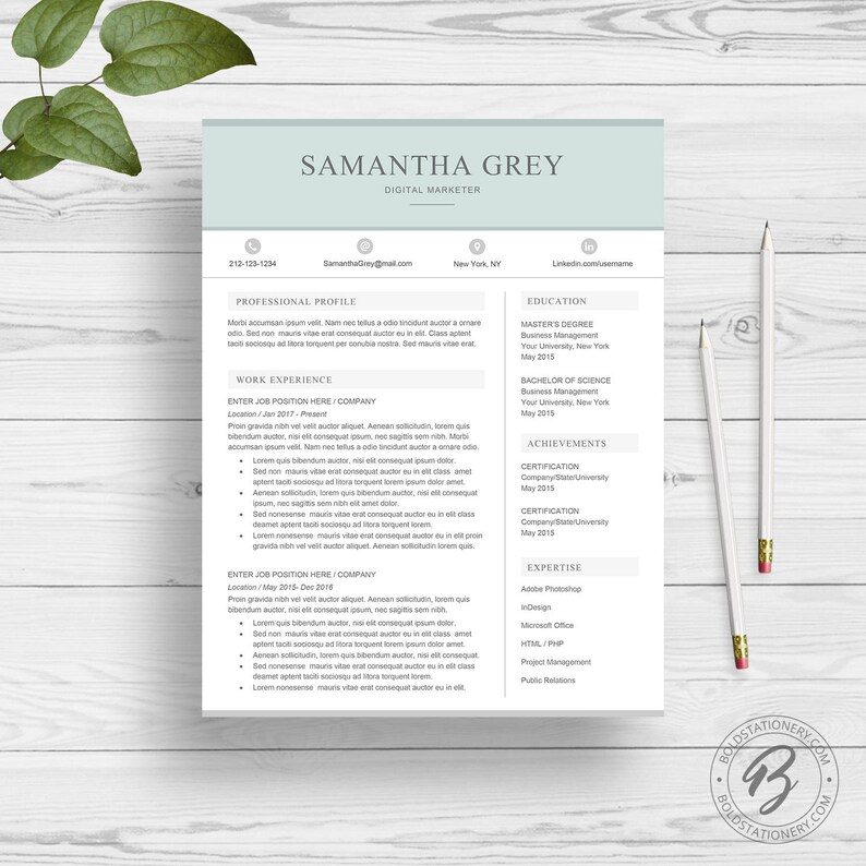 Creative Resume Template for Word  Professional Resume Design image 0