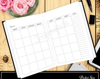 Monthly View Month on Two Pages MO2P Planner Printable Insert Refill Midori style for Pocket Size Traveler's Notebook Undated