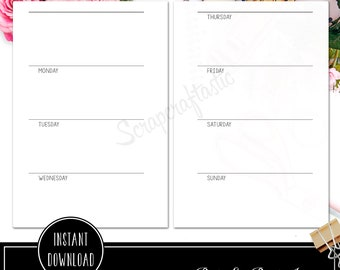 Week on Two Pages Horizontal Pocket Rings / Binder Printable Insert Refill Undated