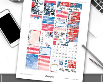 USA Floral Printable Planner Stickers | Memorial Day | 4th of July | Independence Day