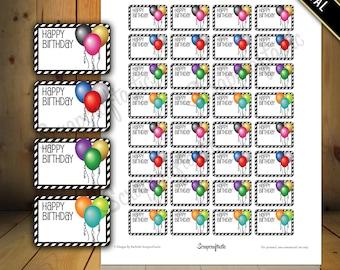 Happy Birthday Balloon Half Box Printable Planner Stickers for Paper Planners, Agendas and Organizers | Mambi Happy Planner, Erin Condren