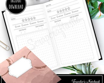 Book / Reading Log and Review A6 Traveler's Notebook Printable Insert