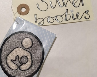 Breastfeeding Award - Silver boobies embroidered badge