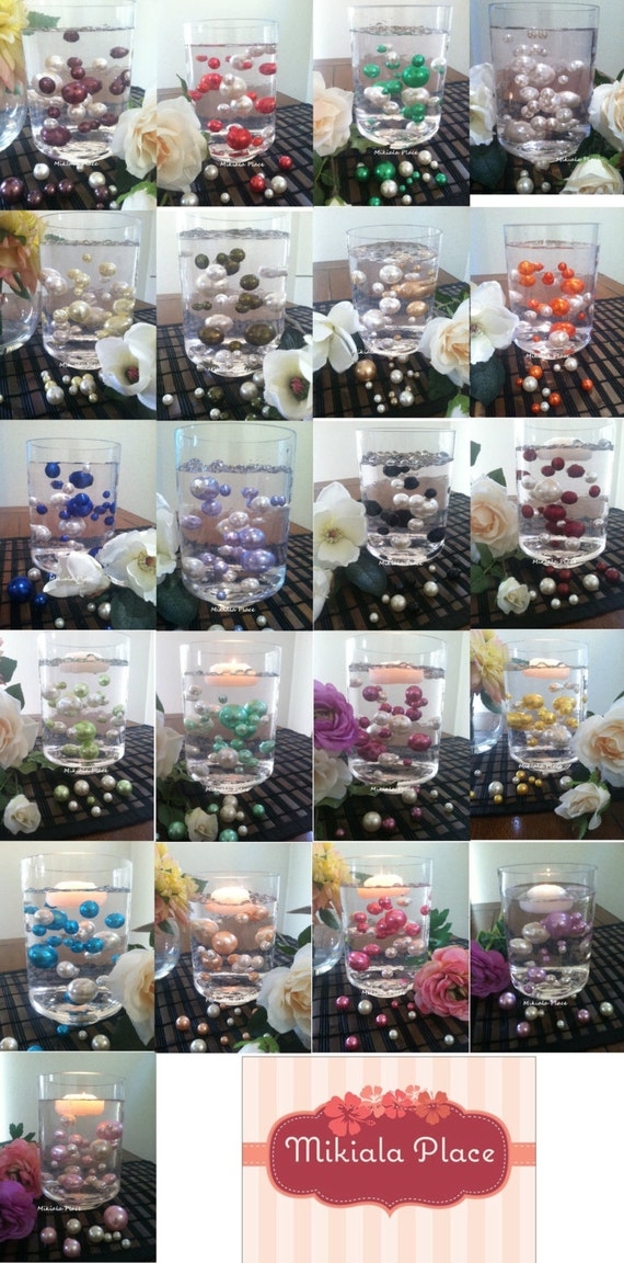 30pc Vase Filler Floating Pearls Pick From 28 Pearl Color Etsy