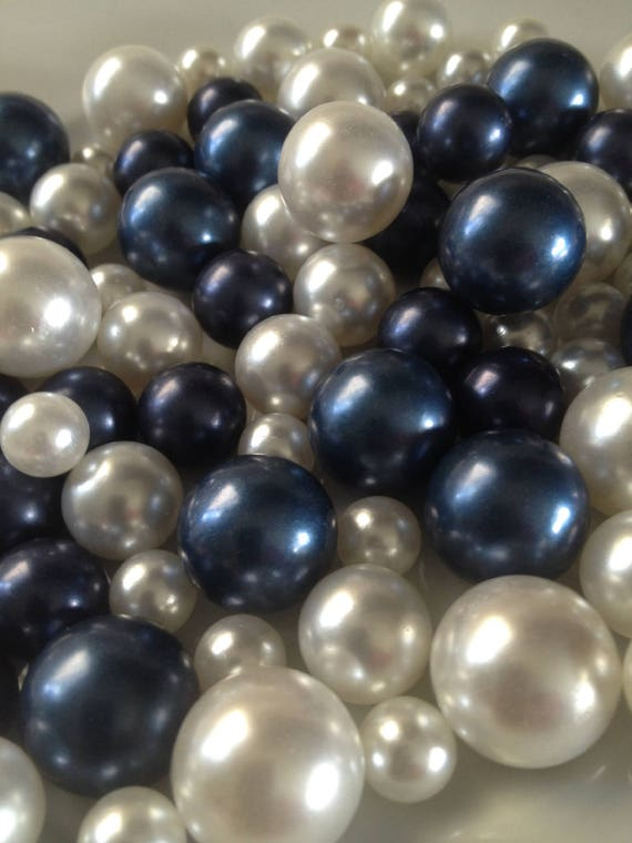 90pc Navy Bluewhite Pearls No Hole Pearls Vase Fillers Etsy