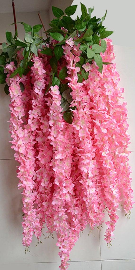 5pcs 70 pink wisteria hanging flowers garland 3 flower etsy