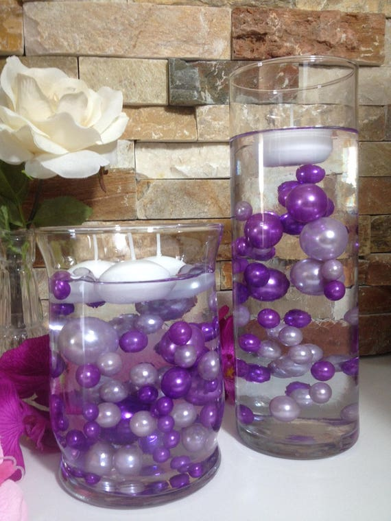 Diy Floating Pearl Centerpiece Orchid Purplelilac Pearls 80pc Etsy