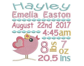 baby birth announcement template embroidery design baby girl
