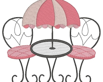 French Cafe Setting Machine Embroidery Design, Al Fresco Dining, Paris Cafe  Table U0026 Chairs Design, 3 Sizes, Instant Download, No: JGS00035 1