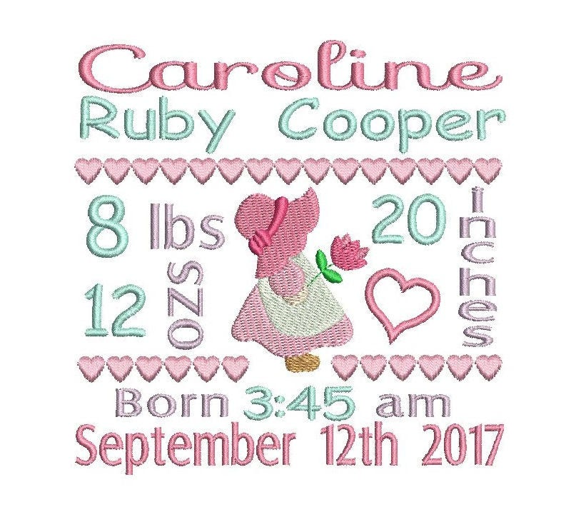 baby birth announcement template embroidery design baby girl birth