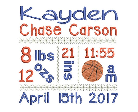baby birth announcement template embroidery design baby boy etsy