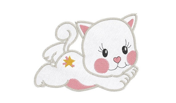 Cuddly Kitten Applique Machine Embroidery Design Sweet Little Etsy