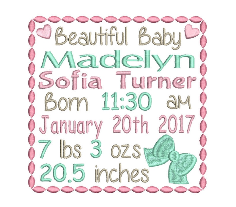 Baby Announcement Template | Baby Birth Announcement Template Embroidery Design Baby Birth Etsy