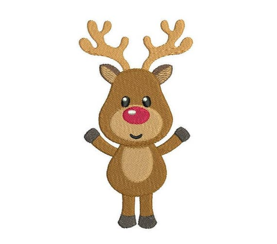 Christmas Reindeer.Christmas Reindeer Machine Embroidery Design Fill Stitch Rudolph Reindeer Embroidery Cute Reindeer 3 Sizes Instant Download No S501 3