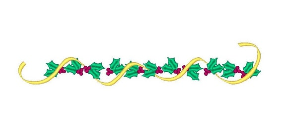 christmas holly border machine embroidery design fill stitch etsy