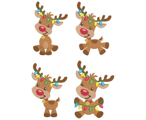 Christmas Reindeer.Christmas Reindeer Embroidery Designs Xmas Reindeer Fill Stitch Rudolph Reindeer Machine Embroidery 2 Sizes Instant Download Sa528