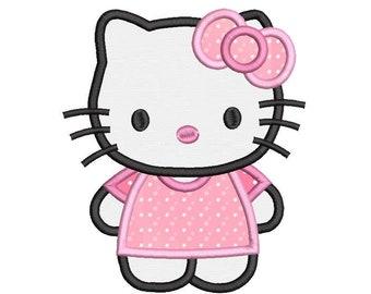Cute Kitty Applique Machine Embroidery Design, Sweet Kitten, Cat Applique, Girly Kitten Design, 3 sizes, Instant Download, No: SA539-25