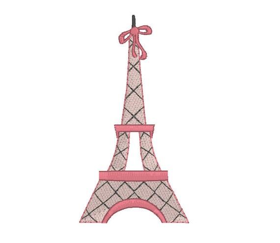 French Eiffel Tower Machine Embroidery Design Paris Eiffel Etsy