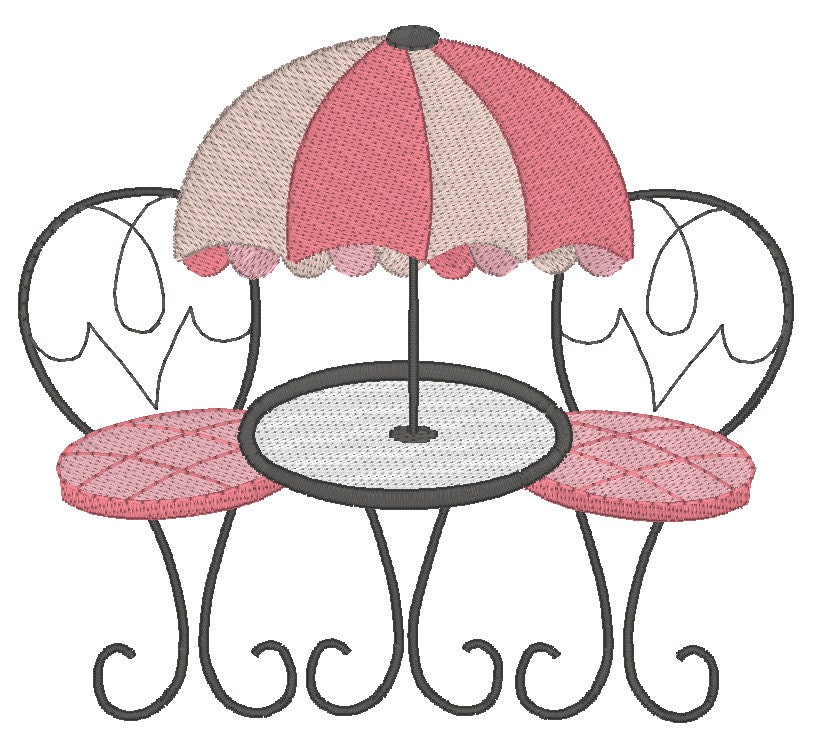 French Cafe Setting Machine Embroidery Design Al Fresco Etsy - Paris cafe table