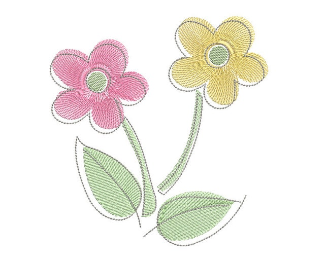 Pastel flower machine embroidery design fill stitch floral etsy image 0 mightylinksfo