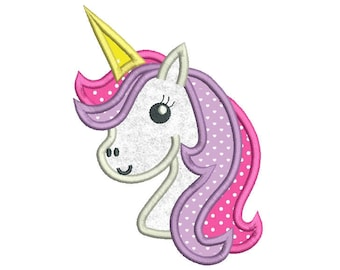 Unicorn Embroidery Design, Unicorn Applique Design, Girly Unicorn Embroidery Design, Machine Embroidery, 3 Sizes, INSTANT DOWNLOAD, SA539-13