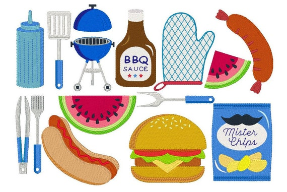 Barbeque Machine Embroidery Designs Set Of 14 Barbeque And Etsy
