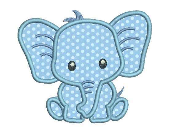baby elephant applique machine embroidery design cute etsy