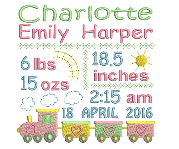 baby birth announcement template embroidery design baby girl etsy