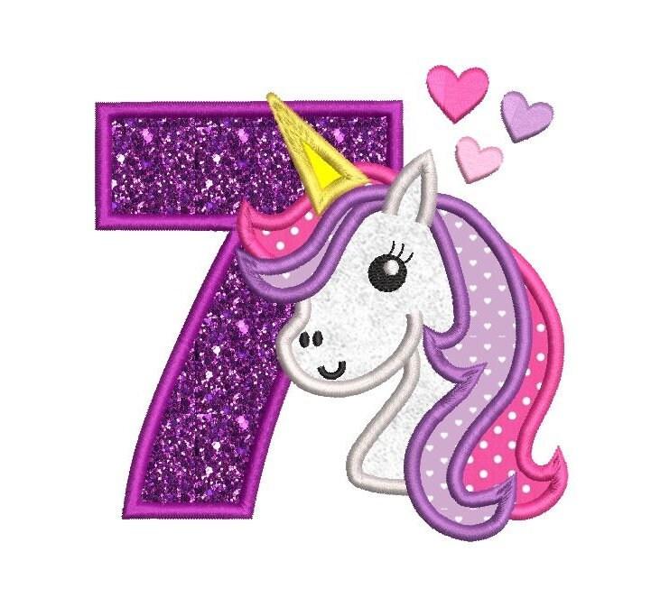 7th Birthday Embroidery Applique Design Cute Unicorn 7th
