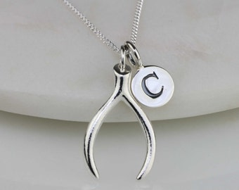 Solid Silver Wishbone Necklace Personalised with a Solid Silver Stamped Initial Charm