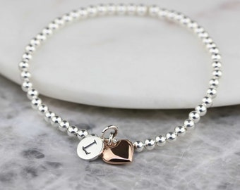 Personalised Skinny Silver Bead Bracelet with Heart Charm