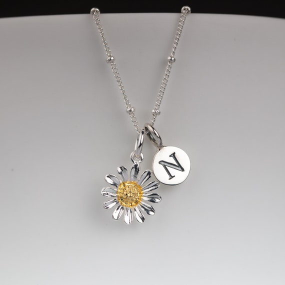 Solid Silver And Gold Dicentra Flower Necklace Personalised with a Solid Silver Stamped Initial Charm